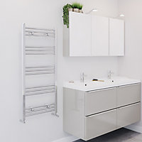 Blyss Leyburn 287W Chrome Towel warmer (H)1100mm (W)500mm