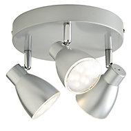 Bomos Silver effect Mains-powered 3 lamp Spotlight