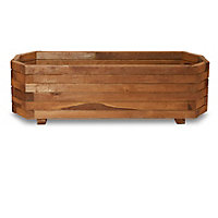 Bopha Pressure treated wood brown Wooden Rectangular Trough with Liner 19cm