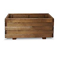 Bopha Pressure treated wood brown Wooden Rectangular Trough with Liner & fixings 40cm