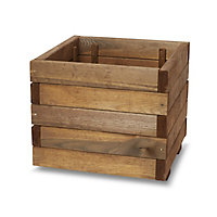 Bopha Pressure treated wood brown Wooden Square Planter 40cm
