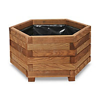 Bopha Wooden Hexagonal Planter with Liner 60cm