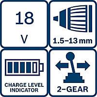Bosch Dynamic 18V 4Ah Li-ion Cordless Drill driver 2 batteries GSR18V-LI
