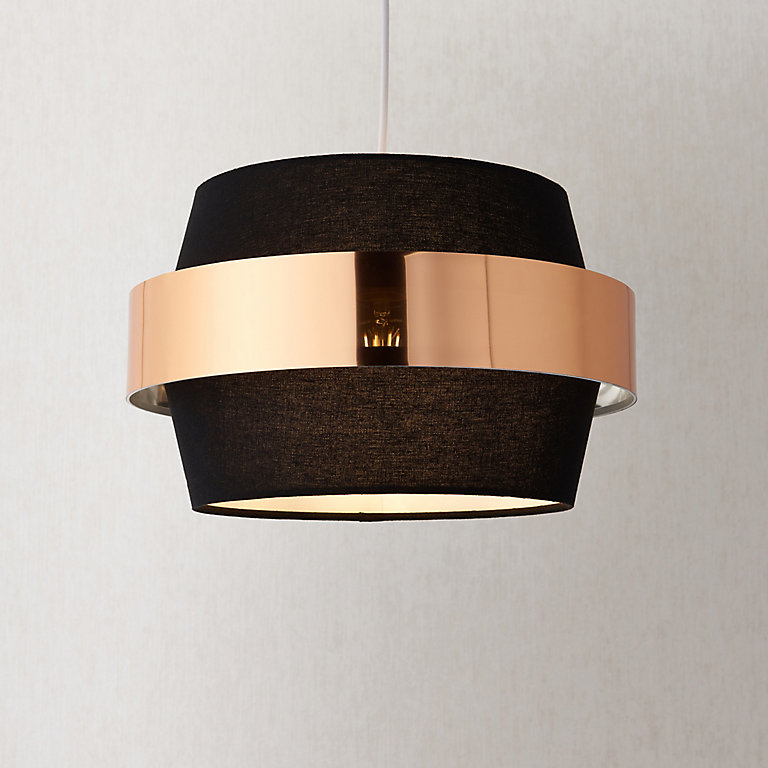 Boston Black Gold Effect Easyfit Light, Black And Gold Pendant Lamp Shade