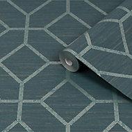 Boutique Asscher Teal Geometric Textured Wallpaper