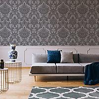 Boutique Baroque Grey Damask Glitter effect Textured Wallpaper
