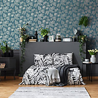 Boutique Betel Teal Metallic effect Textured Wallpaper