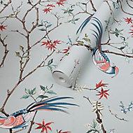 Boutique Biyu Mint Floral Metallic effect Smooth Wallpaper