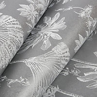 Boutique Brunei Leaves Silver effect Smooth Wallpaper