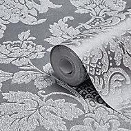 Boutique Buckingham Damask Silver effect Textured Wallpaper