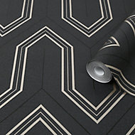 Boutique Chatwal Charcoal Geometric Metallic effect Textured Wallpaper