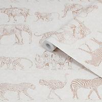 Boutique Cream Safari Metallic effect Smooth Wallpaper