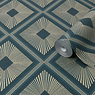 Boutique Fitz Green Geometric Metallic effect Textured Wallpaper