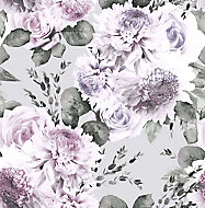 Boutique Garland Lilac Floral Smooth Wallpaper