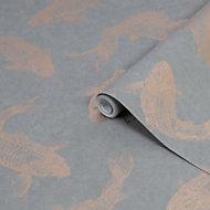 Boutique Grey Pisces Metallic effect Smooth Wallpaper