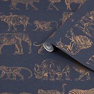 Boutique Navy Safari Metallic effect Smooth Wallpaper