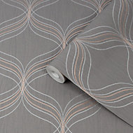 Boutique Optical Grey Geometric Bronze effect Textured Wallpaper