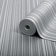 Boutique Palma Ice Striped Metallic effect Embossed Wallpaper