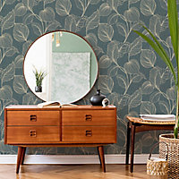 Boutique Royal palm Emerald Leaves Gold effect Smooth Wallpaper