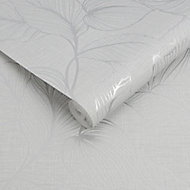 Boutique Royal palm Grey Leaf Silver effect Textured Wallpaper