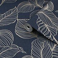 Boutique Royal palm Sapphire Leaf Gold effect Textured Wallpaper