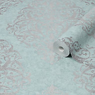 Boutique Shiraz Green & teal Damask Metallic effect Textured Wallpaper