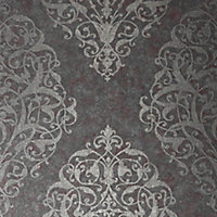 Boutique Shiraz Maroon Damask Metallic effect Textured Wallpaper