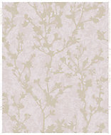 Boutique Silhouette sprig Pink Floral Rose gold effect Embossed Wallpaper