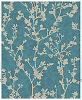 Boutique Silhouette sprig Teal Floral Metallic effect Embossed Wallpaper