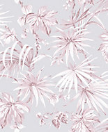 Boutique Tropique Pink Leaf Metallic effect Smooth Wallpaper