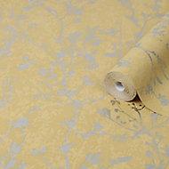 Boutique Yellow Silhouette sprig Metallic effect Textured Wallpaper