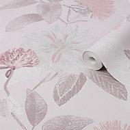 Boutique Zara Pink Floral Metallic effect Textured Wallpaper