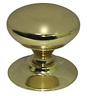 Brass effect Brass Round Furniture Knob (Dia)33mm