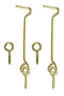 Brass effect Metal Gate hook & eye (L)75mm, Pack of 2