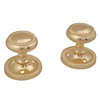 Brass effect Zamac Round Internal Door knob (Dia)49mm, Pack of 3