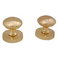 Brass effect Zamac Round Internal Door knob (Dia)54mm