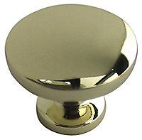 Brass effect Zinc alloy Round Furniture Knob (Dia)30mm, Pack of 6