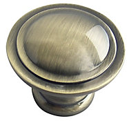 Brass effect Zinc alloy Round Furniture Knob (Dia)30mm, Pack of 6