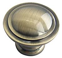 Brass effect Zinc alloy Round Furniture Knob (Dia)35mm, Pack of 6