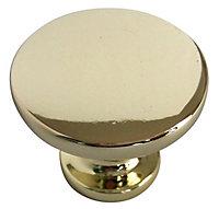 Brass effect Zinc alloy Round Furniture Knob (Dia)38mm, Pack of 6