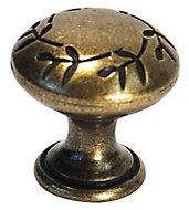 Brass effect Zinc alloy Round Vine Furniture Knob (Dia)30mm