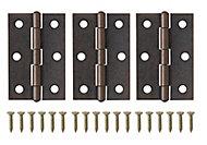 Brass-plated Antique effect Metal Butt Door hinge (L)75mm, Pack of 3
