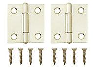 Brass-plated Metal Butt Door hinge (L)38mm NO73, Pack of 2
