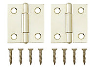 Brass-plated Metal Butt Door hinge (L)38mm, Pack of 2