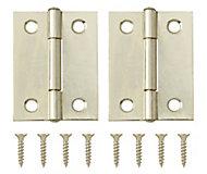 Brass-plated Metal Butt Door hinge (L)50mm NO74, Pack of 2