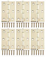 Brass-plated Metal Butt Door hinge (L)75mm, Pack of 6