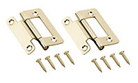 Brass-plated Metal Flush Door hinge (L)50mm N162, Pack of 2