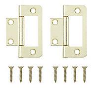 Brass-plated Metal Flush Door hinge (L)50mm NO95, Pack of 2