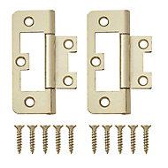 Brass-plated Metal Flush Door hinge (L)65mm N344, Pack of 8