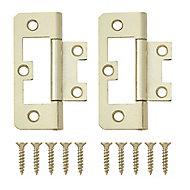 Brass-plated Metal Flush Door hinge (L)65mm NO96, Pack of 2
